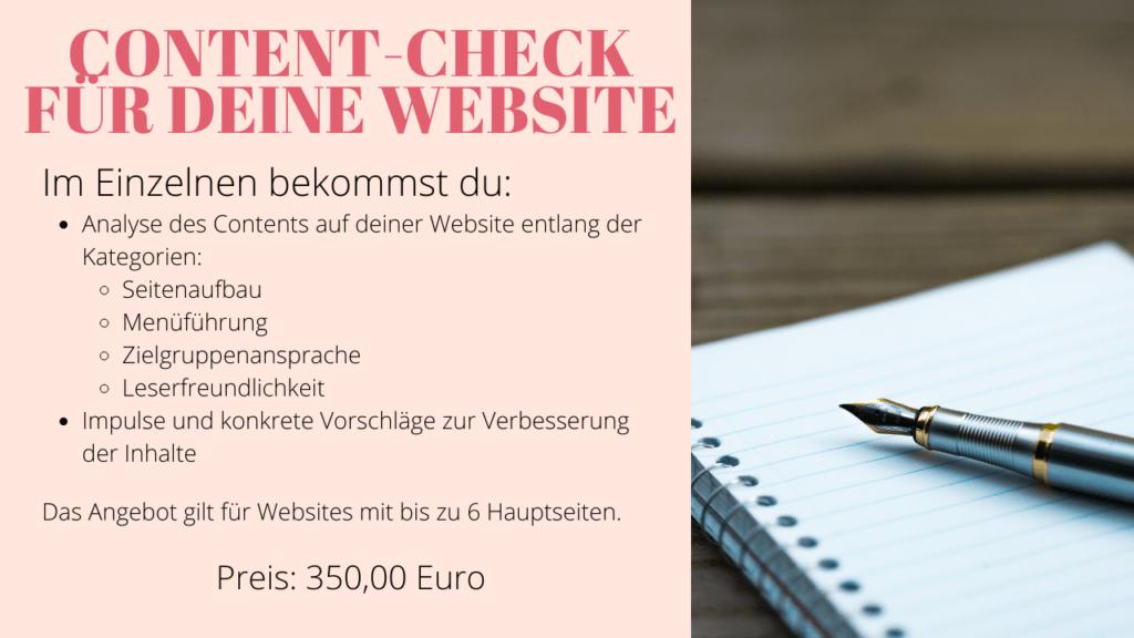 Content Check für deine Website - Preise und Leistungen